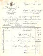 FACTURE 1924 Éts J. DUPONT & Cie COGNAC - FOURNISSEUR DE LA COUR GRAND DUCALE DE LUXEMBOURG - - Lebensmittel