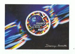 CARTE COUPE DU MONDE FOOTBALL 1998 - FRANCE 98 CHAMPION , Dessiné Par Louis Briat  - Timbre Rond - Voetbal