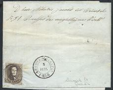 L  Affr  10c Brun Distribution 30 Càd LENNICK-ST-QUENTIN/1856 + Boîte AD ? Pour Bruxelles - 1851-1857 Medallions (6/8)