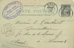 30 NIMES Usine à Vapeur Claude REDIER 1897  Entier Sage  10c Gris  2scans - Nîmes