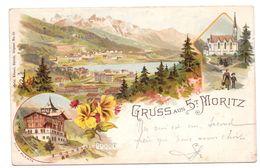 Gruss Aus Saint St Moritz Lithographie Villa Planta  Bon état 1899 - GR Grisons