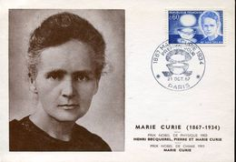 27859 France, Special Card And Postmark 1967 Paris, Marie Curie Nobel Prize,prix Nobel,atom, Physic - Atom