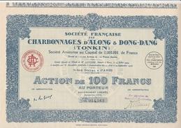 ACTION DE 100 FRANCS - CHARBONNAGES D'ALONG & DONG-DANG - (TONKIN)- ANNEE 1926 - Mines