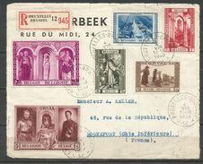 CADEAU - 1939 - COB N° 513 à 518 OBLITERES (o)  Sur DEVANT DE LETTRE RECOMMANDEE - Belgique