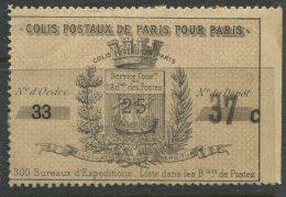 Grandes Armoiries De La Ville De Paris N°3: Timbre + Récépissé 25c Noir Sur Burelage Bistre - Parcel Post
