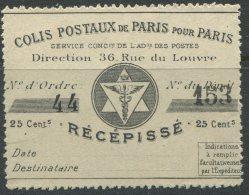 Grandes Armoiries De La Ville De Paris N°9:  Récépissé 25c Noir Sur Blanc - Parcel Post