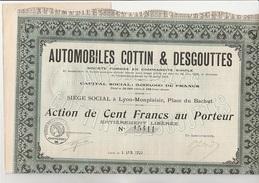 ACTION DE 100 FRANCS - AUTOMOBILES COTTIN & DESGOUTTES -  LYON - MONPLAISIR -ANNEE 1920 - Automobile