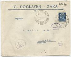 LETTERA DA ZARA PER ESTERO (SVIZZERA) 1,25 L. Imperiale. 03/10/1942. Bolli E Fascetta Di Censura - Storia Postale