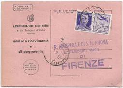 """PROPAGANDA DI GUERRA 50 C. Su AVVISO DI RICEVIMENTO Firenze """"casa Del Fascio"""" 23/06/1943 - Storia Postale"""
