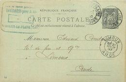 42 SAINT MARTIN LA PLAINE   Boudard Père & Fils 1897  Entier Sage  10c Gris  2scans - Autres Communes