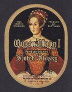 """Etiquette De Whisky écossais """"Queen Mary I"""".  Superbe ! - Whisky"""
