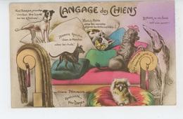 """CHIENS - DOG - Jolie Carte Fantaisie Chiens """"LE LANGAGE DES CHIENS """" - Chiens"""