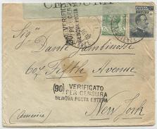 """LETTERA PER ESTERO (U.S.A.) Affr. """"Leoni"""" 5 C. + """"Michetti"""" 20/15 C.. 25/09/1916. Timbri E Fascetta Di Censura - 1900-44 Vittorio Emanuele III"""