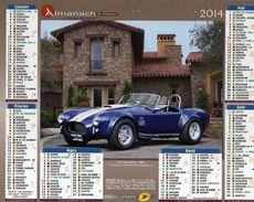 Calendrier Almanach La Poste 2014 Voitures Anciennes Rétro AC Cobra Blue 1966 Et Auburn Boattail Red 1935 - Calendriers