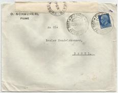 LETTERA Da FIUME PER ESTERO (Svizzera) Affr. 1,25 L. Imperiale. 11/11/1940. Timbri E Fascetta Di Censura - Storia Postale