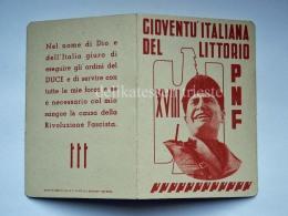Tessera PNF Gioventù Italiana Del Littorio Trieste 1940 Fascismo - Documenti Storici