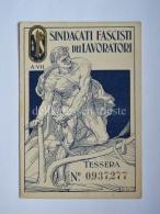 Tessera Sindacati Fascisti Dei Lavoratori Trieste 1927 Fascismo - Documenti Storici
