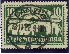 DANZIG 1921 Airmail 10 Mk. Upright Watermark Postally Used.  Michel 71X - Danzig