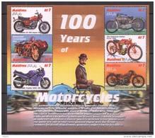 T474 MALDIVES TRANSPORTATION 100 YEARS OF MOTORCYCLES 1KB MNH - Motorbikes