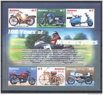 T481 MALDIVES TRANSPORTATION 100 YEARS OF MOTORCYCLES 1KB MNH - Motorbikes