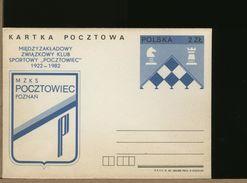 POLSKA - CP - Cartolina Intero Postale - Chess - Scacchi - Pocztowiec Poznan - Scacchi