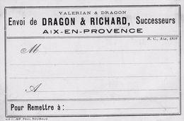 79x   13 Aix En Provence Cartes Publicitaire De Visite Dragon Et Richard Voir V° Grenoble La Brillanne Oraison - Aix En Provence