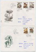 CZECHOSLOVAKIA 1989 Poisonous Fungi Set On Two FDCs.  Michel 3017-21 - FDC
