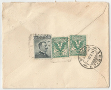 """LETTERA PER ESTERO (Svizzera) Affr. """"Michetti"""" 15 C. (Sass. 80) + """"Floreale 2 X 5 C. (Sass. 70) Al Verso. Palermo 9/5/06 - 1900-44 Vittorio Emanuele III"""