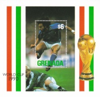 Grenada 1990 Italy FIFA World Cup Football Souvenir Sheet - MNH/**  (H26) - Coppa Del Mondo