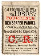 (I.B) Caledonian Railway : Newspaper Parcel 4d (Scotland To England) - 1840-1901 (Victoria)
