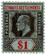 (I.B) Malaya (Straits Settlements) Revenue : Duty Stamp $1 - Great Britain (former Colonies & Protectorates)