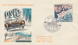 Enveloppe   FDC  1er  Jour    MONACO    31éme   Rallye   Automobile   MONTE   CARLO     1962 - Cars