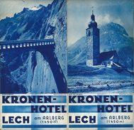 Dépliant Touristique 1939 KRONEN HOTEL LECH Am ARLBERG (Autriche) - Folletos Turísticos