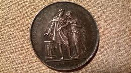 Ancienne Médaille De Mariage XIXe En Argent Signée Petit LIVRAISON GRATUITE - Religion & Esotérisme