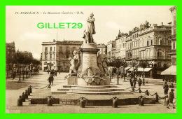 BORDEAUX (33) - LE MONUMENT GAMBETTA -  ANIMÉE -  B. R. -  DOS VERT - BLOC FRÈRES, ÉDITEURS - - Bordeaux