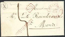 L. Càd POPERINGHE/1844 + Boîte Rurale X De Rousbrugge Pour Mons - 1830-1849 (Belgique Indépendante)