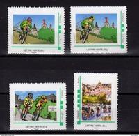 """Série Des 4 Timbres """"Tour De France 2017 Au Puy En Velay"""" - Vélo - Mon Timbre à Moi En Lettre Verte - Ciclismo"""
