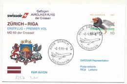 SUISSE - Enveloppe Premier Vol ZURICH => RIGA 1998 - MD 83 - Military Post