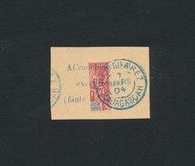 MADAGASCAR 1904 - Affranchissement Exceptionnel Moitié De Timbre 10 Cts (Yvert 43) Yvert 78B ° Oblitéré Sur Fragment - Madagascar (1889-1960)