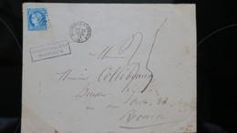 Lettre N° 60 De Montreuil L'argile 1872 Taxe Pour Affranchissement Insuffisant Et Variété Angle Inf. Gauche Brisé - Postmark Collection (Covers)