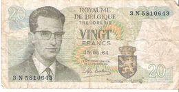 Belgium - Pick 138 - 20 Francs 1964 - VG - [ 6] Treasury