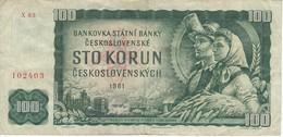 BILLETE DE CHECOSLOVAQUIA DE 100 KORUN DEL AÑO 1961  (BANKNOTE) - Tchécoslovaquie