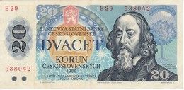 BILLETE DE CHECOSLOVAQUIA DE 20 KORUN DEL AÑO 1988 EN CALIDAD EBC (XF)  (BANKNOTE) - Checoslovaquia
