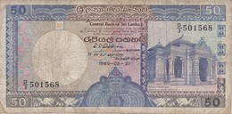 BILLETE DE SRY LANKA DE 50 RUPEES DEL AÑO 1989   (BANKNOTE) - Sri Lanka