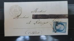 Lettre Napoleon N°15 Sur Lettre De Orbec En Auge Calvados De 1854 Cote 525 € Filet Tangent Angle Sup. Gauche Sinon TB - Marcophilie (Lettres)