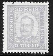 Portugal, Scott # 70 MNH King Carlos, 1892, Short Perf - 1892-1898 : D.Carlos I