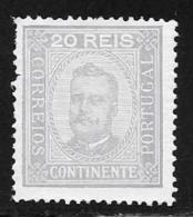 Portugal, Scott # 70a Perf 13 1/2 Mint Hinged King Carlos, 1892, Short Perf - 1892-1898 : D.Carlos I