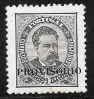 Portugal, Scott # 79 Mint Hinged King Luiz, Overprinted Provisorio, 1892, Thin - 1892-1898 : D.Carlos I