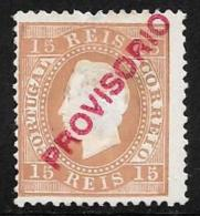 Portugal, Scott # 86 Perf 12 1/2 Unused No Gum King Luiz, Overprinted Provisorio, 1893, Stains Or Thins?? - 1892-1898 : D.Carlos I