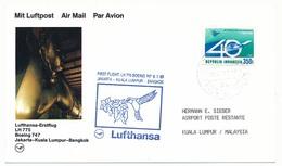 INDONESIE - Carte Premier Vol Lufthansa LH 775 Boeing 747 - Djakarta => Kuala Limpur => Bangkok 1989 - Indonésie